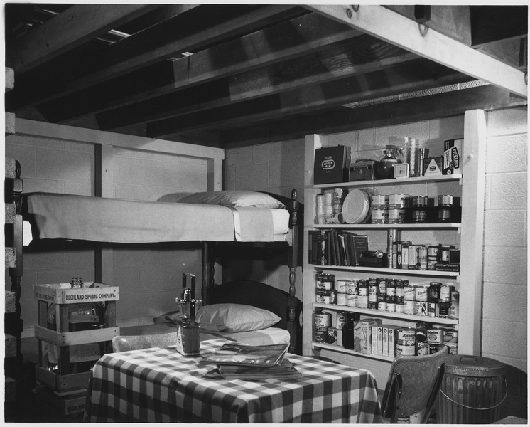 How to build a fallout shelter - Attractive interior of basement family fallout shelter includes a 14-day shelter... - NARA - 542105