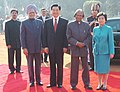 Hu Jintao and his wife Mrs. Liu Yongqing with the President, Dr. A.P.J. Abdul Kalam and the Prime Minister, Dr. Manmohan Singh, at a Ceremonial Reception, in New Delhi on November 21, 2006.jpg