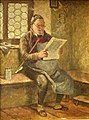 Hugo Wilhelm Kauffmann (1844-1915), Gemälde, Zeitungsleser mit langer Gesteckpfeife, D1990.jpg