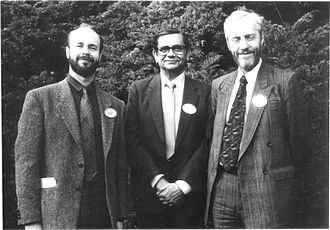 Huw Dixon - Huw Dixon 1992, Chair of Royal Economic Society Conference, with Jagdish Bhagwati (invited speaker) and Sir David Hendry (President of RES)