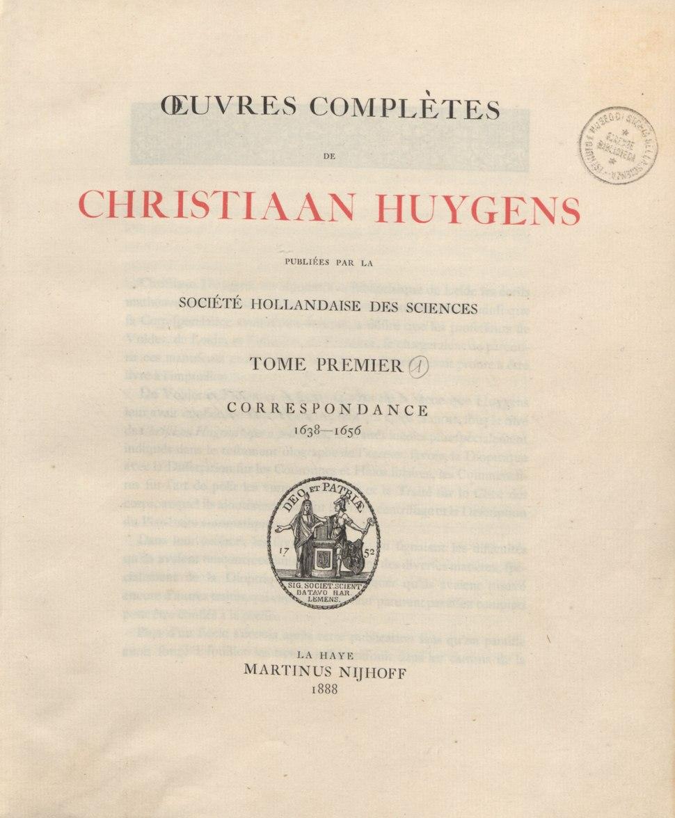 Huygens - Correspondance. 1638-1656, 1888 - 3917544