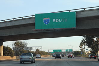 Interstate 5 in California - I-5 South in San Diego toward Mexico, September 2012
