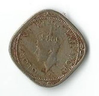 Coins of the Indian rupee - Image: INR half anna George 6 O