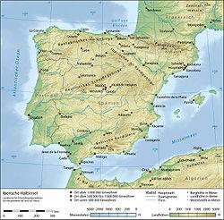 Topographie der Iberischen Halbinsel