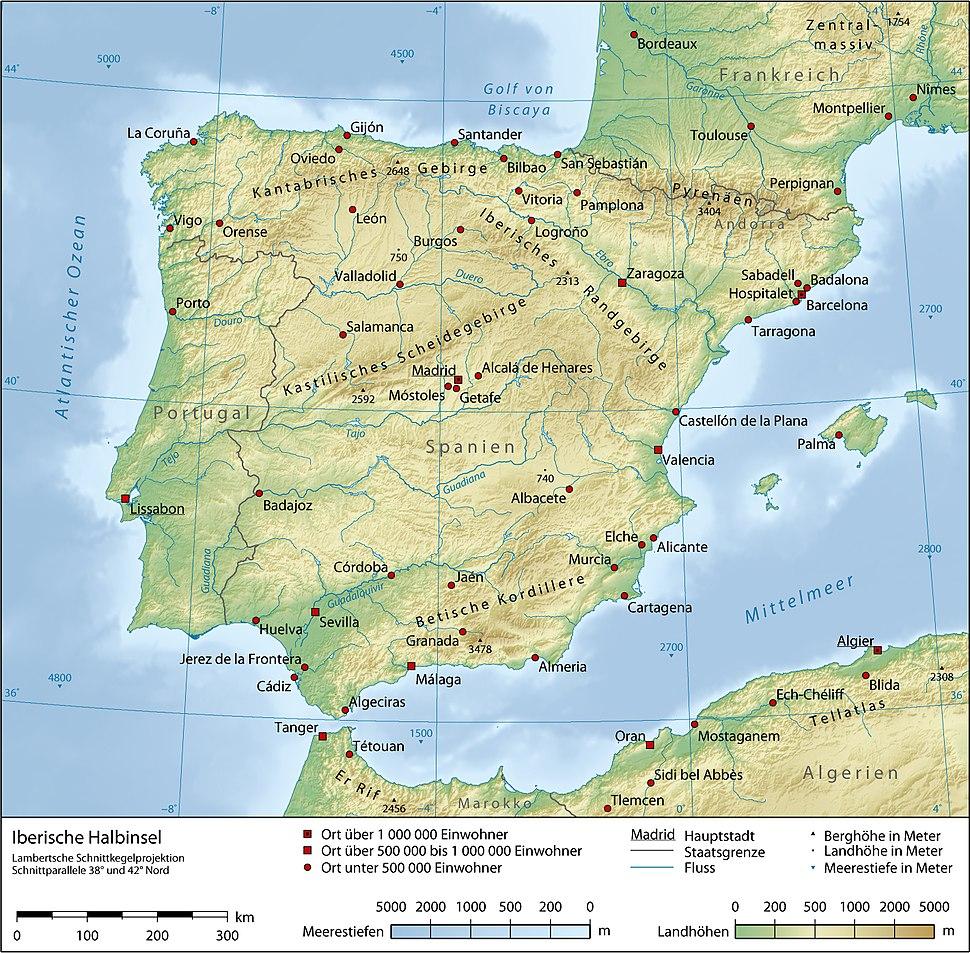 Karte von Iberische Halbinsel