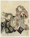 Ichikawa Danjûrô VII als Yoshimune no Munesada met waaier en Ichikawa Omezô in de rol van Sekibei met bijl-Rijksmuseum RP-P-1958-489.jpeg