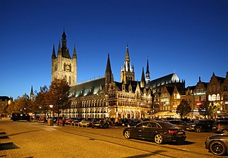 Ypres - Cloth Hall and Grote Markt (Great Market) at night