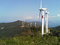 A few of Ikata's many mountaintop windmills.