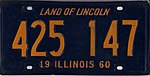 Illinois 1960 license plate - Number 425 147.jpg