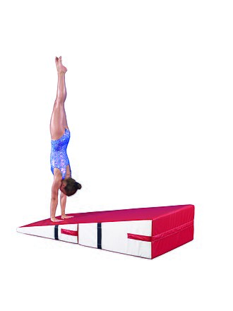 Mat (gymnastics) - This Gymnast performs a Handstand on a folding incline.