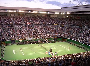 Inside the Rod Laver Arena during an evening m...