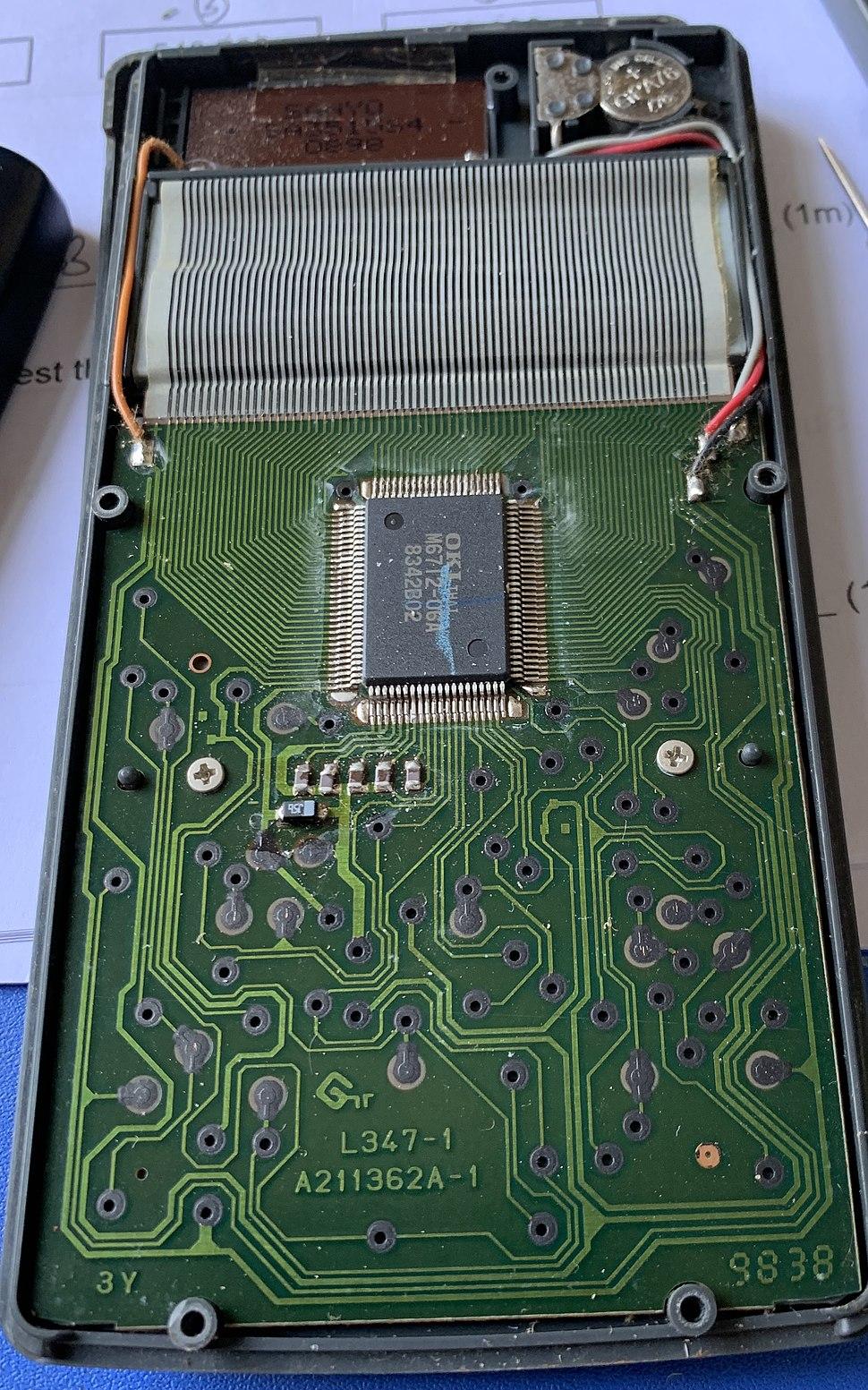 The interior of a Casio FX-991s calculator