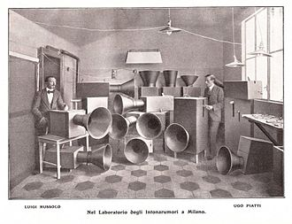 """The Art of Noises - Instruments for futuristic music, called """"Bruitism"""", partly electrically operated, built by Russolo, 1913"""