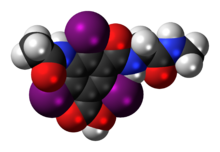 Space-filling model of the ioglicic acid molecule
