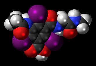 Ioglicic acid - Image: Ioglicic acid 3D spacefill