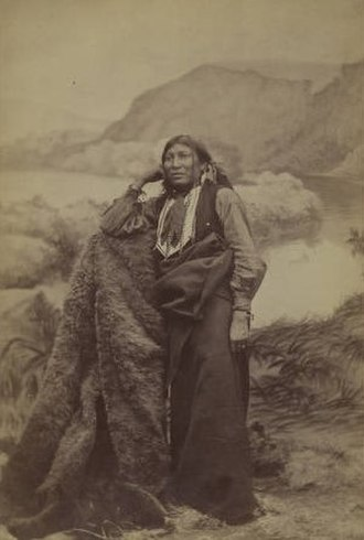 Isatai'i - Isatai'i, Comanche warrior and medicine man.  Reservation cabinet card photo created and published by W. P. Bliss around 1880. Collection of the DeGolyer Library, Southern Methodist University
