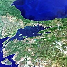 Satellitfoto over det nordvestlige Turkiet, med Marmarasøen i midten.