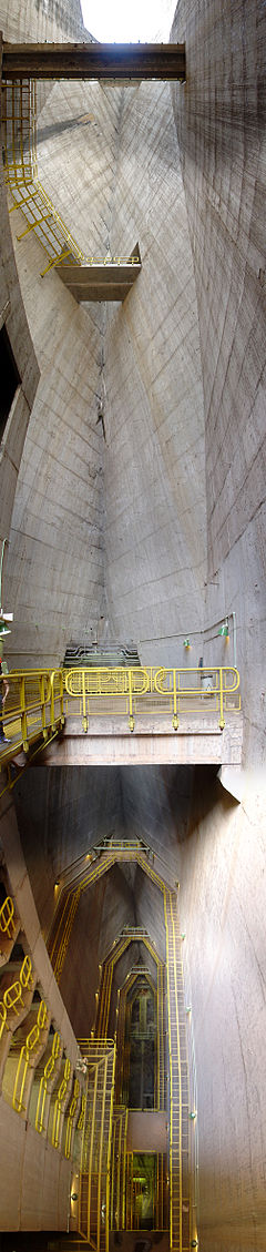 Inside the dam structure