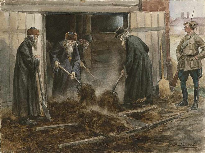 Clergy on forced labor, by Ivan Vladimirov (Soviet Russia, 1919)