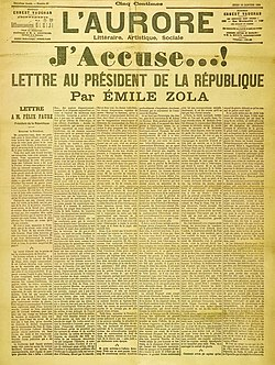 Em Émile Zola sy Brief J'accuse (Ich chlag aa)