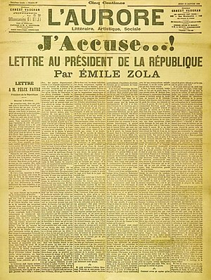 The text of the letter as published in L'Aurore A Featured Image on Wikipedia and the Turkish Wikipedia