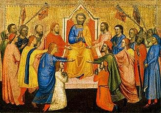 Jacopo di Cione - Image: Jacopo di Cione, Saint Peter Enthroned Between Saint Paul and the Faithful