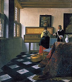 La leçon de musique par Johannes Vermeer (vers 1664).