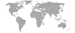 Map indicating locations of Japan and Uruguay