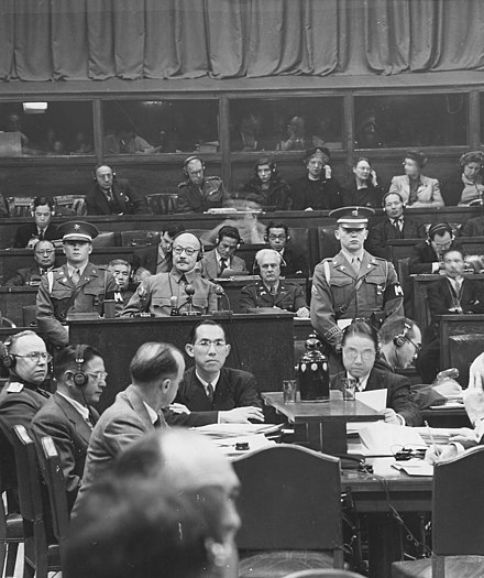 Hideki Tojo takes the stand at the Tokyo war crimes tribunal. Japanese War Crimes Trials. Manila - NARA - 292612.jpg