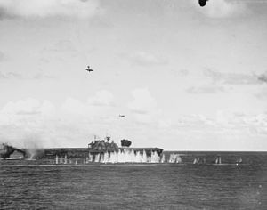 Japanese aircraft attack USS Hornet (CV-8) during the Battle of the Santa Cruz Islands on 26 October 1942 (80-G-33947).jpg