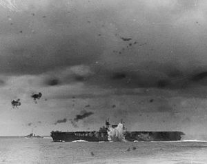 USS Enterprise (CV-6) - Near hit during the Battle of the Santa Cruz Islands, 26 October 1942.