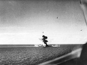 Japanese cruiser Kumano - Kumano under attack, 26 October 1944.