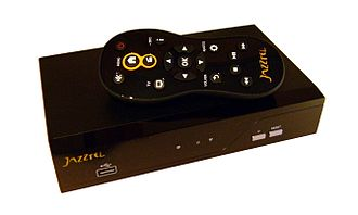 Video on demand - Some VOD services require the viewer to have a TV set-top box. This photo shows the set-top box for the Jazzbox VOD service and its accompanying remote control.