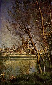 Jean-Baptiste-Camille Corot - Cathedral of Mantes, with Fisherman.jpg