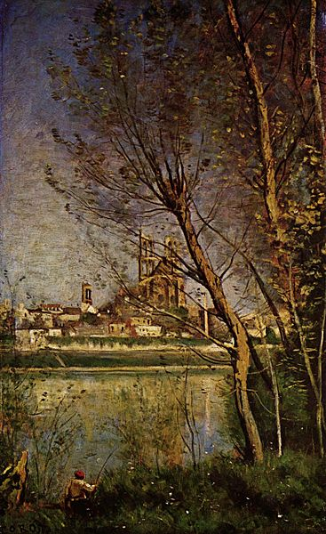Fichier:Jean-Baptiste-Camille Corot - Cathedral of Mantes, with Fisherman.jpg