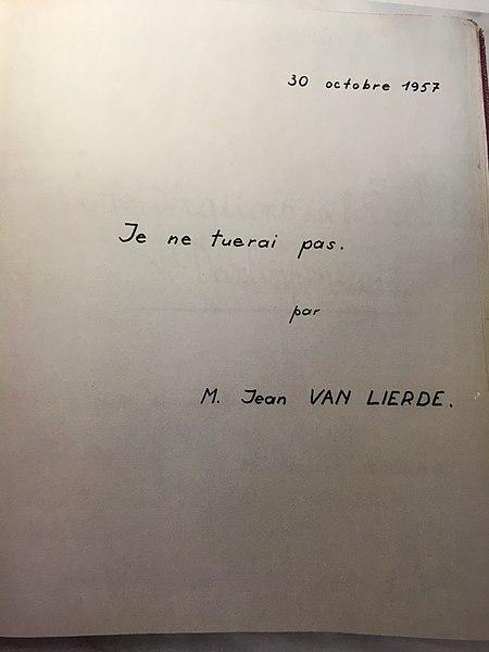 Jean van Lierde, Je ne tuerai pas Château Drese, réunion 30 octobre 1957