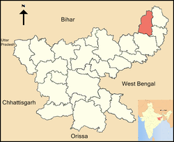 Location of Godda district in Jharkhand