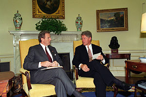 Jim Guy Tucker - Tucker (left) meets with President Bill Clinton at the White House, 1993