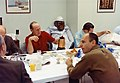 Jim McDivitt (left edge of photo, back to camera), Tom Stafford, Pete Conrad, Al Bean, Dick Gordon at the pre-launch breakfast.jpg