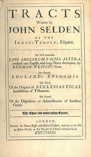 John Selden - Tracts posthumously published in 1683 contained English translations