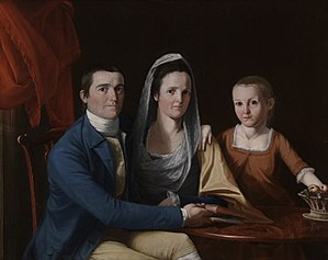 Jonathan Trumbull Jr. - Family portrait of Jonathan, Eunice and Faith painted by his brother, John Trumbull, 1777