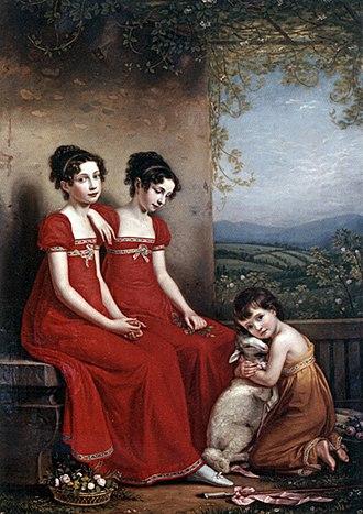Maximiliana of Bavaria - Full painting of Princess Maximiliana (embracing a lamb) with two of her sisters, Princesses Elisabeth and Amalie, Joseph Karl Stieler, 1814.