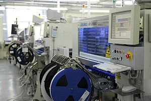 Surface-mount technology - Assembly line with SMT placement machines