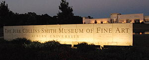 Jule Collins Smith Museum of Fine Art - The Jule Collins Smith Museum of Fine Art, seen at night from the north