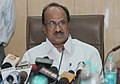 K.V. Thomas briefing the media after reviewing the storage and movement of food grains.jpg