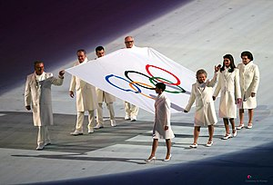 2014 Winter Olympics opening ceremony - Olympic flag entering the stadium.