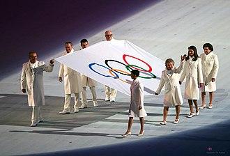 2014 Winter Olympics opening ceremony - Olympic flag entering the stadium.