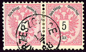 Krzeszowice - Austria KK 5 kreuzer pair cancelled in 1888