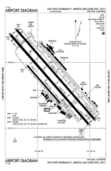A map with a grid overlay showing the terminals, runways, and other structures of the airport.