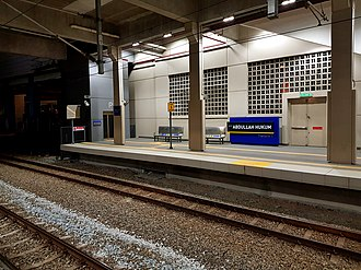 Abdullah Hukum station - Komuter platform of the station.